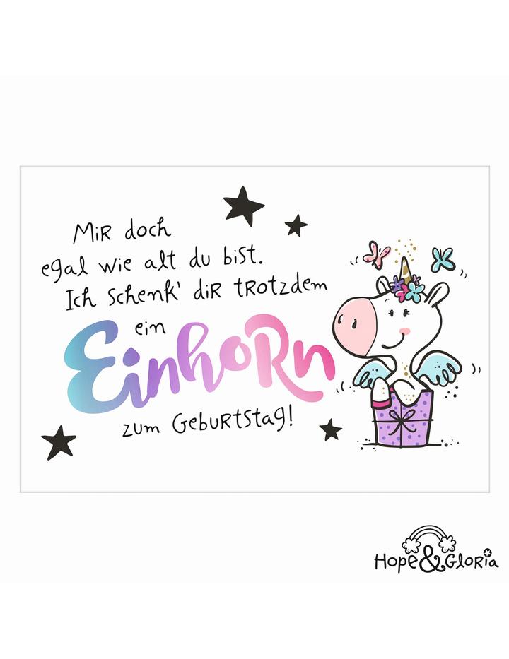 Postkarte Hope Gloria 26 Einhorn Zum Geburtstag Dog Toy De De
