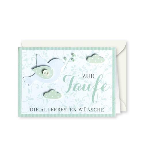 Knopfkarte 74 Zur Taufe Taufkarte Mini Karte Dog Toy