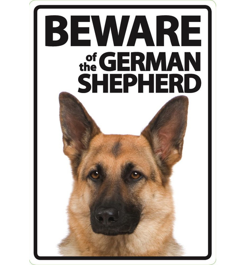 Beware of the German Shepherd - Portrait - Magnet & Steel