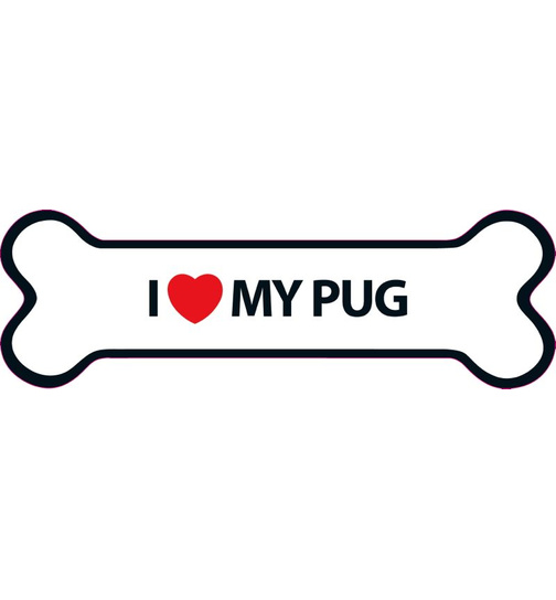 I Love My Pug Magnet Knochen
