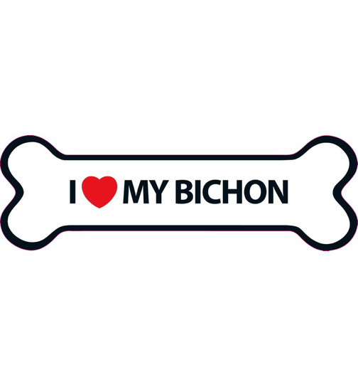 I Love My Bichon Magnet Knochen