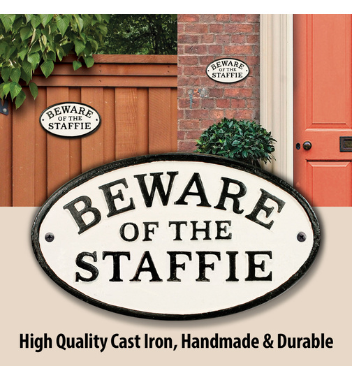 Beware of the Staffie - Gusseisen Oval