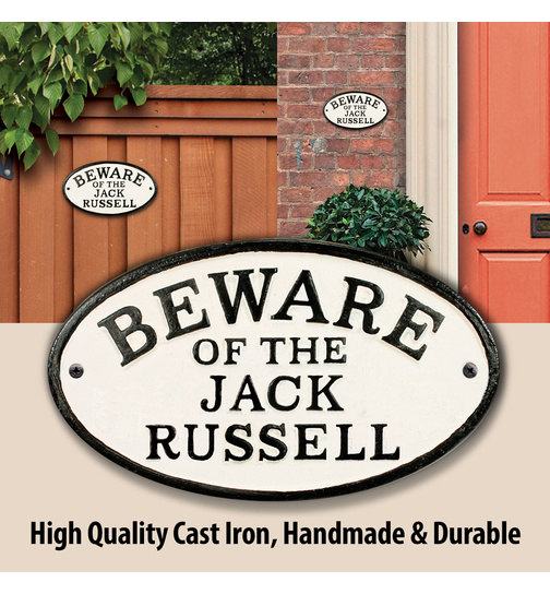 Beware of the Jack Russell - Gusseisen Oval