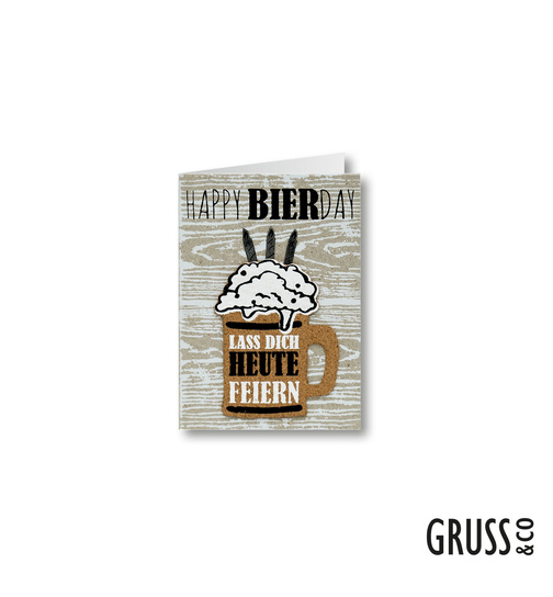 Grußkarte mit Kork - Happy BierDay - 01