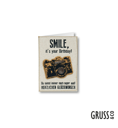 Grußkarte mit Kork - Smile, it`s your Birthday! - 02