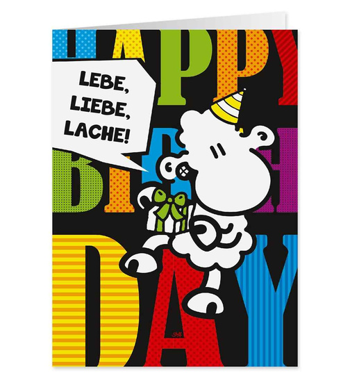 Lebe, Liebe, Lache! - Happy Birthday - Pop Art Karte - Nr. 35