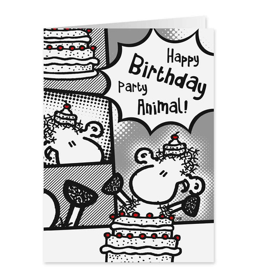Party Animal - Happy Birthday - Midi Pop Art Karte - Nr. 64
